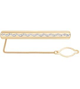 Зажим для галстука из золота с алмазной гранью 090018