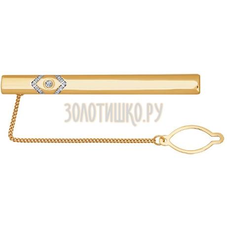 Золотой зажим для галстука с узором с правого края 090037