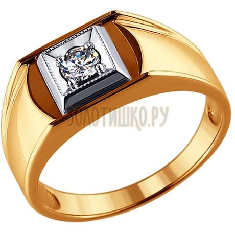 Кольцо из комбинированного золота с бриллиантом 1010103