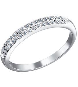 Кольцо из белого золота c двумя дорожками бриллиантов 1010130