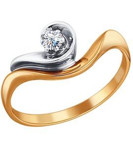 Комбинированное помолвочное кольцо с бриллиантом 1010176