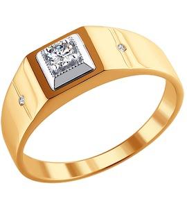 Золотая печатка с бриллиантом 1010188