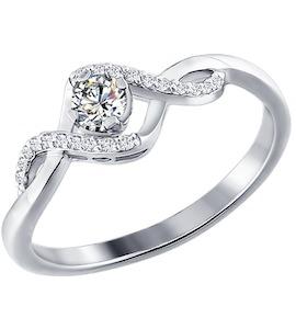 Белое кольцо с бриллиантами 1010418