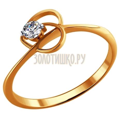 Кольцо с бриллиантом из золота 1010452