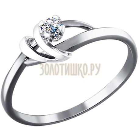 Помолвочное кольцо из белого золота c бриллиантом и декором в форме галочки 1010627
