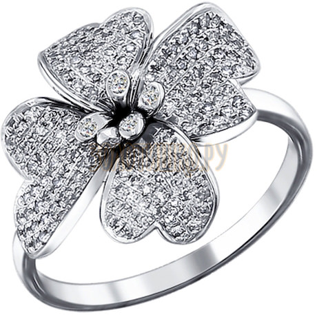 Кольцо из белого золота с бриллиантами 1010902