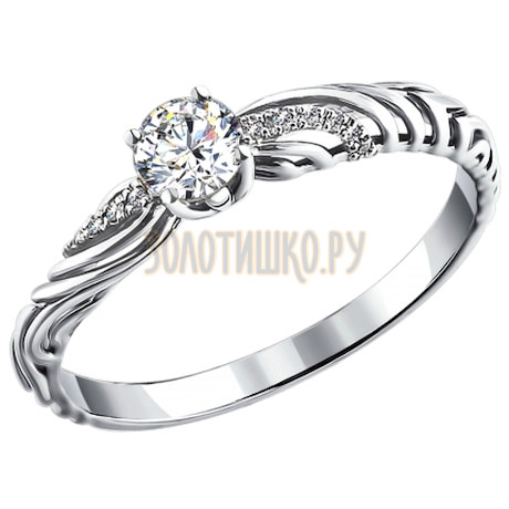 Кольцо из белого золота с бриллиантами 1011081