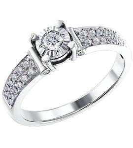 Стильное кольцо из белого золота c бриллиантами 1011116