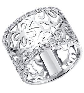 Ажурное кольцо из белого золота с бриллиантами 1011138