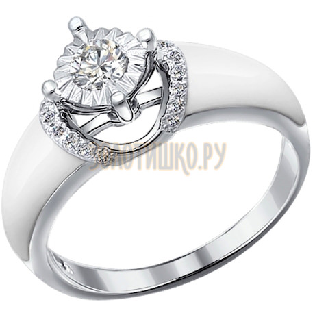 Кольцо из белого золота с эмалью с бриллиантами 1011178