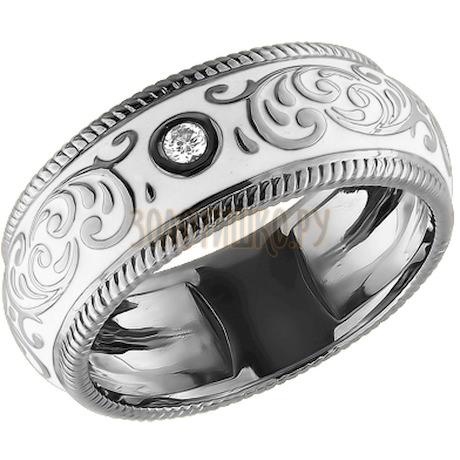 Кольцо из белого золота с эмалью с бриллиантом 1011191