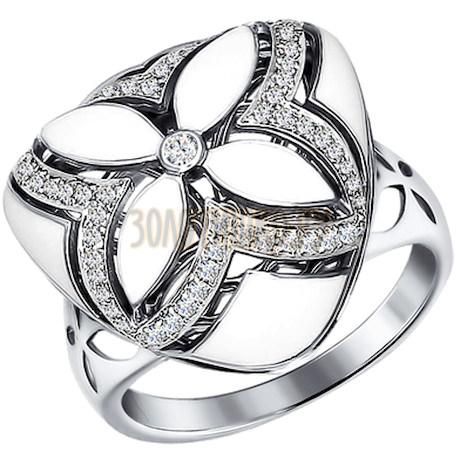 Кольцо из белого золота оригинальной треугольной формы 1011203
