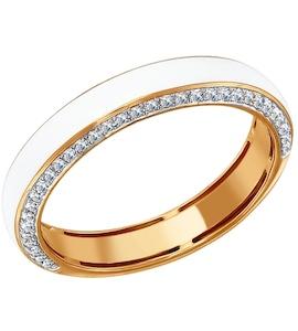 Белое кольцо из золота с эмалью с бриллиантами 1011243