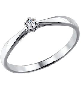 Помолвочное кольцо из белого золота с бриллиантом 1011346