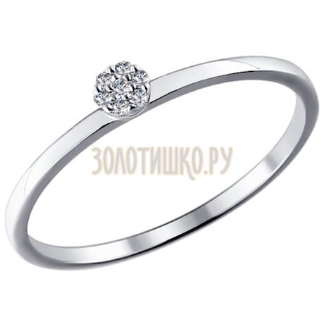 Помолвочное кольцо из белого золота с бриллиантами 1011353