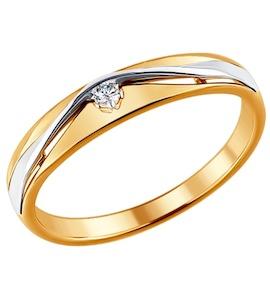 Помолвочное кольцо из комбинированного золота с бриллиантом 1011371
