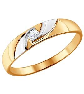 Помолвочное кольцо из комбинированного золота с бриллиантом 1011372