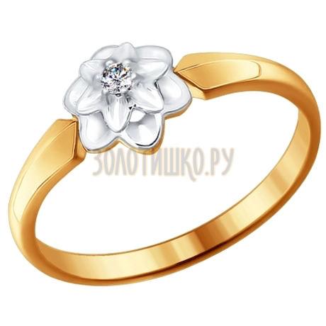 Кольцо из комбинированного золота с бриллиантом 1011403