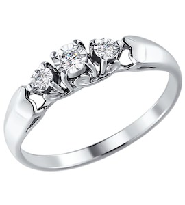 Кольцо из белого золота с бриллиантами 1011469