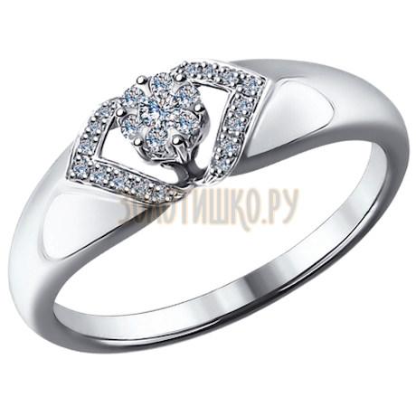 Кольцо из белого золота с бриллиантами 1011478