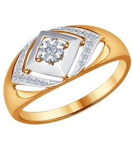 Кольцо из комбинированного золота с бриллиантами 1011479