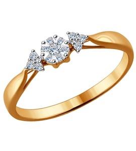 Помолвочное кольцо из комбинированного золота с бриллиантами 1011481