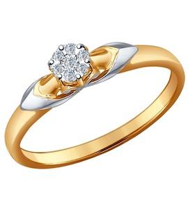Помолвочное кольцо из комбинированного золота с бриллиантами 1011487
