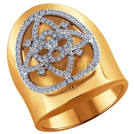 Кольцо из комбинированного золота с бриллиантами 1011489