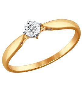 Помолвочное кольцо из комбинированного золота с бриллиантом 1011492