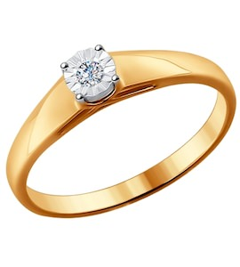Помолвочное кольцо из комбинированного золота с бриллиантом 1011522