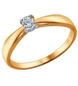 Помолвочное кольцо из комбинированного золота с бриллиантом 1011532
