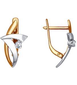 Украшенные бриллиантом серьги из комбинированного золота 1020016