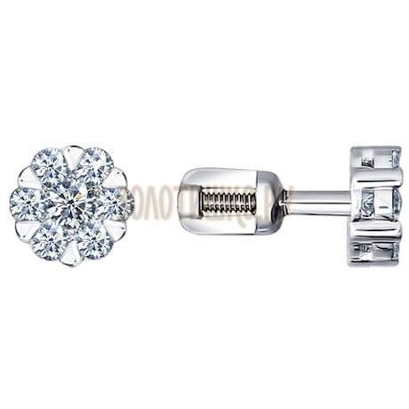Серьги-пусеты из белого золота с бриллиантами 1020126