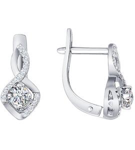 Белые серьги с бриллиантами 1020218