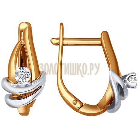 Серьги из комбинированного золота с бриллиантами 1020340