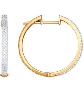 Серьги-кольца из золота с бриллиантовой дорожкой 1020552