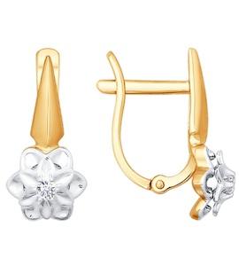 Серьги из комбинированного золота с бриллиантами 1020884
