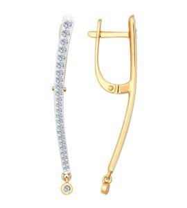 Серьги длинные из золота с бриллиантами 1020927