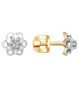 Серьги-пусеты из комбинированного золота с бриллиантами 1020969