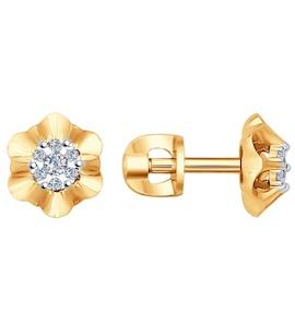 Серьги-пусеты из комбинированного золота с бриллиантами 1020992