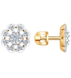 Серьги-пусеты из комбинированного золота с бриллиантами 1021005