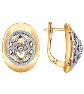 Серьги из комбинированного золота с бриллиантами 1021008