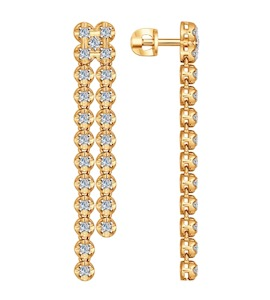 Серьги длинные из золота с бриллиантами 1021019