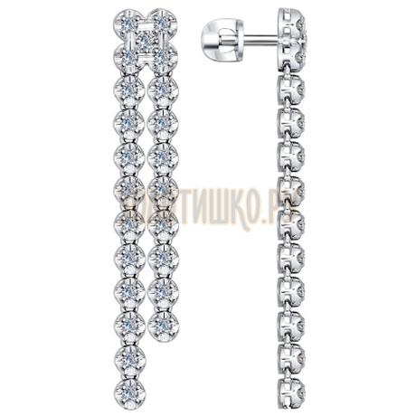 Серьги длинные из белого золота с бриллиантами 1021020