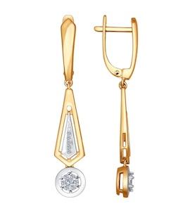 Серьги длинные из золота с бриллиантами 1021022