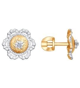 Серьги-пусеты из комбинированного золота с бриллиантами 1021045