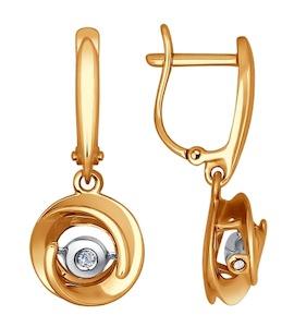 Серьги из комбинированного золота с бриллиантами 1021070
