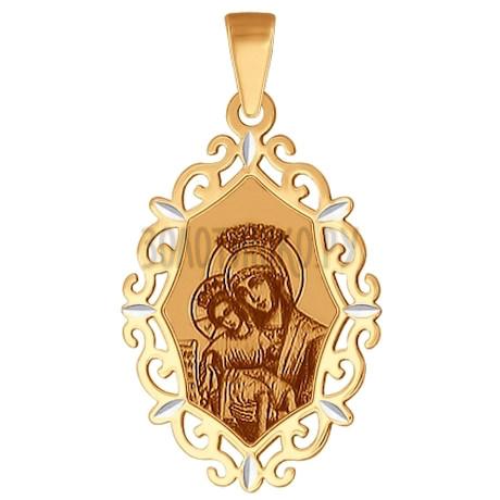 Иконка из золота с алмазной гранью и лазерной обработкой 102351