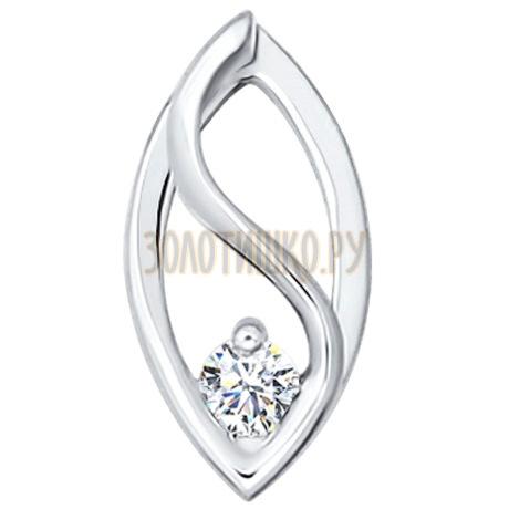 Подвеска из белого золота с бриллиантом 1030042