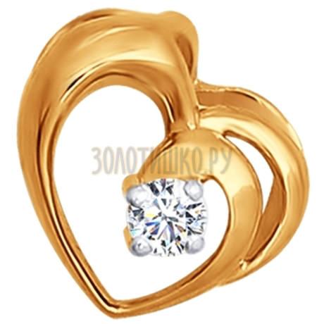 Подвеска из золота с бриллиантом 1030045